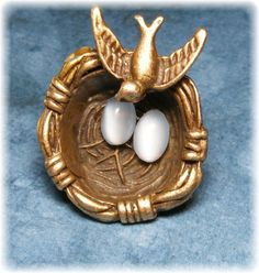 ButtonArtMuseum.com - Precious Weaved Nest w Two Delicate Glass Eggs Mother Bird 3D Brass Button