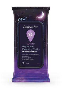 Summer's Eve Lavender Night-Time Cleansing Cloths For Sensitive Skin 32 Cloths