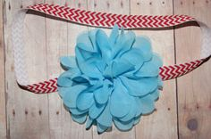 Suess Headband Turquoise Chiffon Flower on a Red by craftmomof3, $6.00