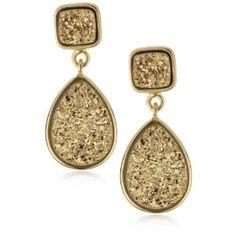 Marcia Moran Gold Druzy Stone Double Drop 18k Gold-Plated Earrings $213