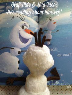 Hide and Hug Olaf Idea - Olaf reads about himself