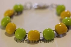Yellow and light green fused glass bracelet by CzinamonArt on Etsy, Glass Jewelry, Unique Jewelry, Fused Glass, Fruit, Yellow, Handmade Gifts, Bracelets, Green, Etsy