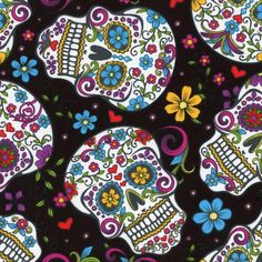 Bin Fabric Day of The Dead Skulls Zombies on Black Cotton by The 1 4 Yard | eBay