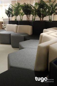 Adecuación con mobiliario de espacios de interacción. Salas de Espera Couch, Furniture, Home Decor, Environment, Waiting Rooms, Pencil Sharpener, Offices, Spaces, Architects