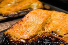 Salmon mustard n brown sugar grilled... Now if we only had fresh salmon!