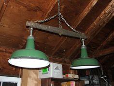 VINTAGE INDUSTRIAL ENAMEL double barn light antique singletree vermont barn light 1940's. $220.00, via Etsy.