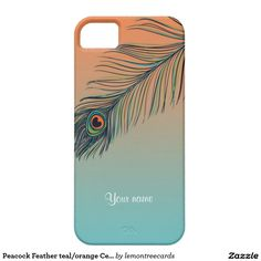Peacock Feather teal/orange Cell Phone iphone5 iPhone 5 Cases