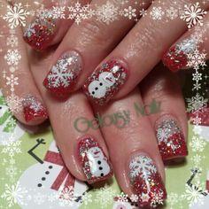 Snowman snowflake Christmas nail design