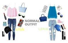 """""""lisa and lena outfit#1"""" by basinillomarie on Polyvore featuring MANGO, J Brand, Kate Spade, Revo, Manon Baptiste, Topshop, Converse, American Needle, Michael Kors and Chanel"""