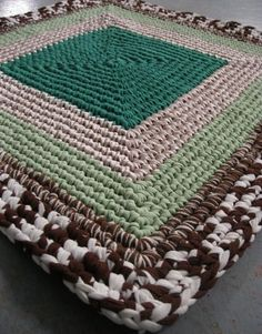Handmade Crochet Rug in brown and mint from recycled by mrsginther, $69.00