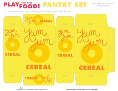 Worksheets: Play Food: Pantry Set