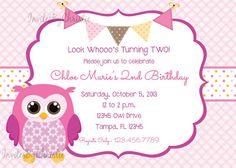 Adorable Owl Birthday Invitation for Girls by InvitesByChristie