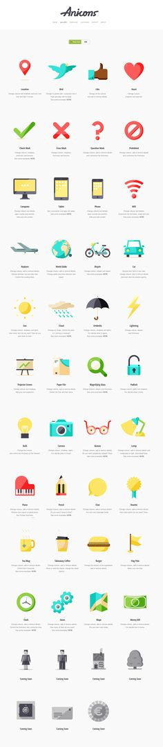 Anicons. The Animated Customisable Icon Library by Sebas and Clim.