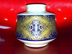 Vase H&G Heinrich Porzellan 1790 POP ART Dekor im Jugendstil Echt Kobalt + Gold