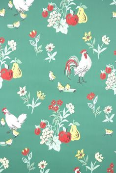 authentic vintage wallpaper for sale | Hannahs Treasures Vintage Wallpaper  - 1950s vintage kitchen wallpaper with roosters fruit and flowers. Love this for a vintage country kitchen!
