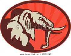 vector illustration of an angry african elephant bull facing side view #elephant #retro #illustration