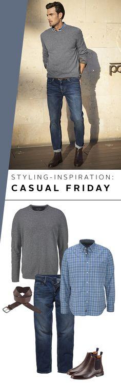 Hier kommt die beste Alternative, wenn der Anzug seinen freien Tag in der Woche hat: Am Casual Friday kombinierst du einfach Hemd und Pullover zur Jeans dazu Lederboots. Fertig ist der lockere Start ins Wochenende!