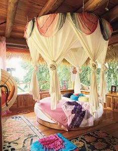 I love this canopy round bed! All the fabric and lushness. I see it in jewel tones, as if from Morroco! MonaRaeBeads.etsy.com