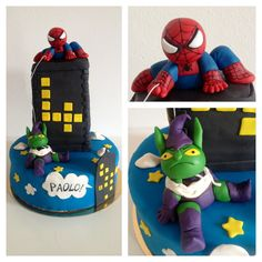 Spiderman and green Goblin cake