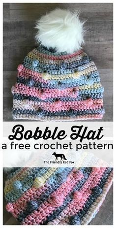 Crochet Hat Free Crochet Hat Pattern- The Bobble Hat . Comes in sizes month, toddler, child, and Teen/Adult. - I am in love with this free crochet hat pattern. The bobbles add just the right texture and the fluffy fur pom tops it off Crochet Toddler Hat, Crochet For Kids, Easy Crochet, Free Crochet, Knit Crochet, Girl Crochet Hat, Crochet Hats For Girls, Beginner Crochet, Crocheted Hats