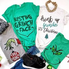 He's a mean one, but we love the Grinch and you will love one of our NEW Grinch inspired tees. Grinch Shirts, Xmas Shirts, Fall Shirts, Vinyl Shirts, Cute Shirts, Funny Shirts, Diy Grinch Shirt, Sister Shirts, The Grinch