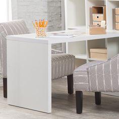 Hudson 16-Cube Shelf with Desk - White - Desks at Hayneedle