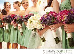 pretty bridesmaid dresses, green! But I'm not a fan of the short dresses