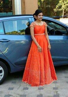 Orange Designer Gown is part of Designer gowns - Long Gown Dress, Anarkali Dress, Long Frock, Anarkali Suits, Indian Designer Outfits, Designer Gowns, Indian Outfits, Mode Bollywood, Frock Models