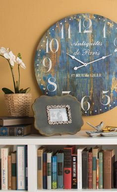 Gorgeous rustic wall clock in blue and gold!