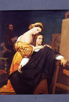 Ingres, 3rd version of La Fornarina and Raphael: with Madonna della Seggiola in the background, a man with canvas, and a Christ-like Raffello