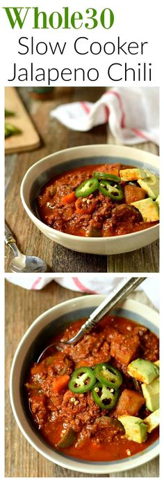 Whole30 Approved Slow Cooker Jalapeno Chili
