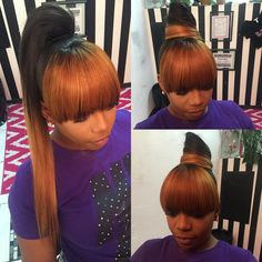 Try easy Weave Ponytail with Chinese Bang 152943 Chinese Bangs I Want these Bangs ideas using step-by-step hair tutorials. Weave Ponytails With Bangs, Bangs Ponytail, Weave Ponytail Hairstyles, Urban Hairstyles, Ponytail Styles, My Hairstyle, Hairstyles With Bangs, Girl Hairstyles, Black Hairstyles