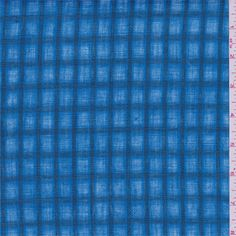 "Aqua blue with 3/4"" spruce green checks. This lightweight linen hasa loose weave and stiff hand.Compare to $30.00/yd"