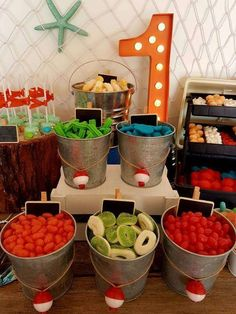 Bait Shop Birthday Table - Birthday Party Ideas for Kids and Adults Boys First Birthday Party Ideas, Baby Boy 1st Birthday, Birthday Table, Boy Birthday Parties, Birthday Themes For Boys, Kid Parties, Birthday Photos, Partys, 1st Birthdays