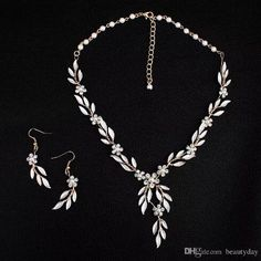 2018 Korean Style Gold Leaves Earring Necklace Set Headban HeadPiece Rhinestone Crystal Flower Faux Pearls Bridal Party Bridal Jewelry