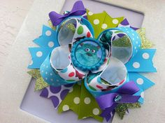 Monsters Inc Inspired Boutique Stacked Hair Bow / Monsters Inc Birthday Hair Bow
