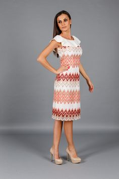 Rochia Ete Lollipop este realizata din dantela in zig-zag alb-corai-rosu, cu… Dresses For Work, Summer Dresses, Zig Zag, Fashion, Moda, Sundresses, La Mode, Fasion, Summer Clothing