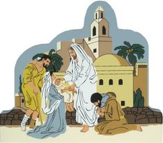 Jesus Heals The Sick - Matthew 4:23-24   The Cat's Meow Village / Bible Story included on the back