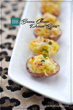 Bacon Cheese Potato Bites | Big Bang Bites | bigbangbites.com | Creamy mashed potato bites baked and filled with cheddar, bacon and chives.