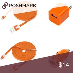 Orange 2x 10FT (3m) Flat iPhone Cables & Chargers 2x 8 Pin 10Ft. (3m) Flat USB Charging Cables. Great package for a great price. Please message me the color you would like.  - Cables and Chargers are Brand New - Color: White, Black, Pink, Hot Pink, Red, Blue, Light Blue, Yellow, Green - 2-in-1 function allowing charging and data transfer at the same time. - The Cables will be in a Bulk Package *This product is not from APPLE inc  What's in the package? 2x - 10FT (3m) generic Charging cables…