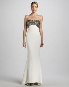 Strapless Gown with Embroidered Bodice by Notte by Marchesa at Neiman Marcus.