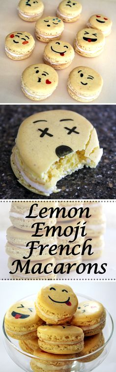 These cute and tasty macarons are lemon flavored with a lemon vanilla bean buttercream! Cookie Desserts, Easy Desserts, Cookie Recipes, Delicious Desserts, Dessert Recipes, Yummy Food, Macaron Filling, Macaron Recipe, Cake Pops