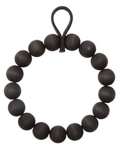 The Kranssi Wreath by Finnish Brand Verso Design is made of birch wood pearls and finished with a soft leather loop for hanging if desired. Black Wreath, Diy Presents, Black Christmas, Beaded Garland, Clay Beads, Wooden Beads, Make And Sell, Deco, Little Gifts
