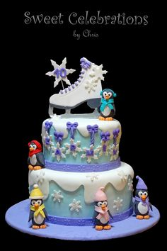 Perfect cake for an ice skating party! The Effective Pictures We Offer You About figure Skating Part Ice Skating Cake, Ice Skating Party, Skate Party, 7th Birthday Party Ideas, Birthday Cakes For Teens, Girl Birthday, 9th Birthday, Roller Skate Cake, Son Luna