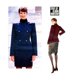 90s VOGUE MILITARY STYLE Jacket Double Breasted Jacket & Skirt Pattern Claude Montana Paris Original Vogue 1890 Womens Sewing Patterns UNCuT by DesignRewindFashions on Etsy