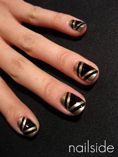 love black and gold nails they go with everything