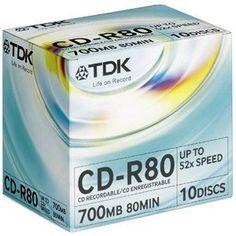 TDK CDR80MJB10M Mediscribe Certified Medical CD-R 700MB/80min 52x 10-Pack Jewel Case CD-R80MJB10M by TDK. $26.71. TDK CDR80MJB10M Mediscribe Certified Medical CD-R 700MB/80min 52x 10-Pack Jewel Case CD-R80MJB10M. Product may differ from image shown.