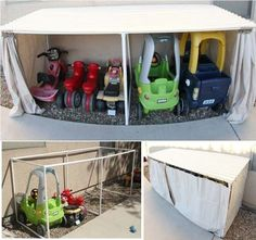 Car Garage – great idea for all those large outdoor toys.- 25 Playful DIY Backyard Projects To Surprise Your Kids Toy Car Storage, Outdoor Toy Storage, Diy Storage, Storage Ideas, Storage Solutions, Storage Design, Kayak Storage, Cheap Storage, Storage Units