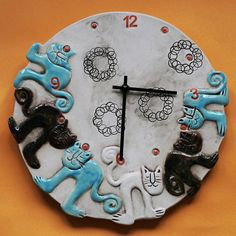 Kočičí keramické hodiny