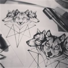 #tattooart #tattoos #tattooflash #wolf #linework #sacredgeometry